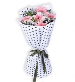 5 Pembe Gerbera Çiçek Buketi